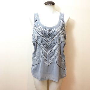Grey fashion tank Top with sequins and jewels
